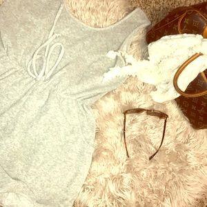 Terry cloth grey onesie so cute bought @boutique